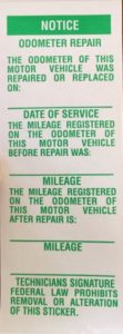 Notice of Odometer Repair