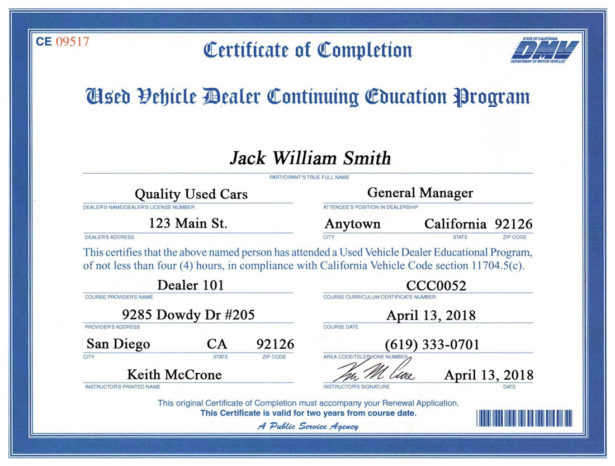 used vehicle dealer continuing education program certificate of completion