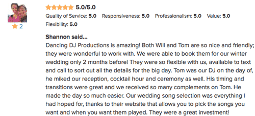 DJ Tom's WeddingWire Review from Shannon