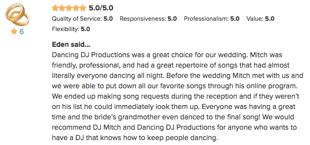Five Star WeddingWire Review for Mitch