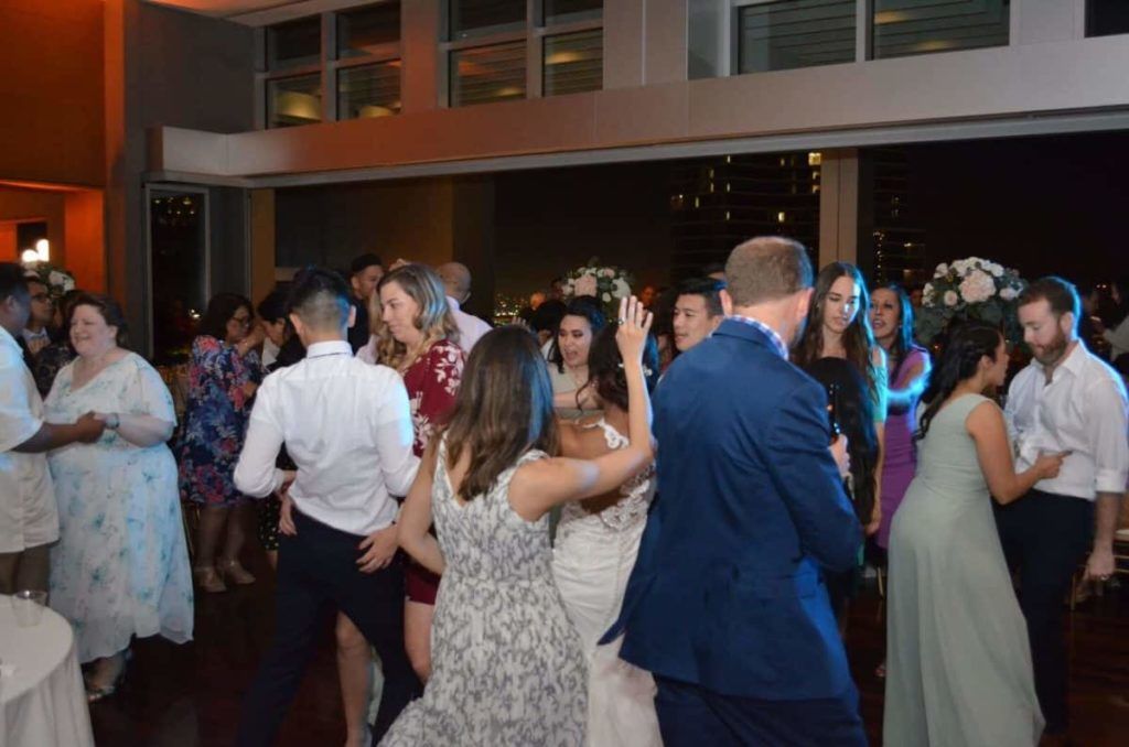 Guests partying the night away with the newlyweds at Ultimate Skybox