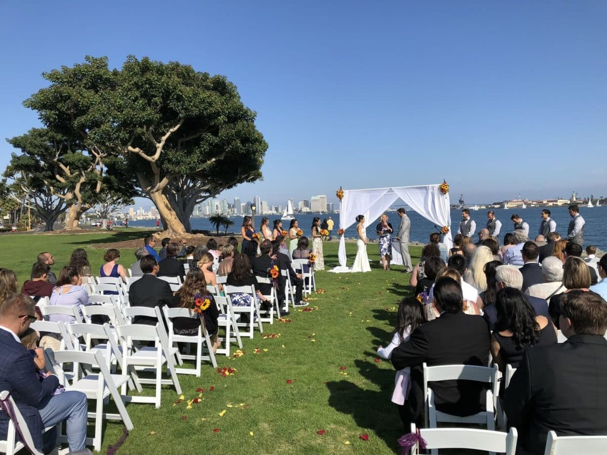 Beautiful bay side ceremony before moving to BRICK San Diego