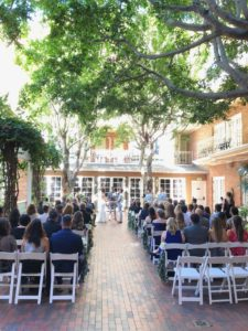 Ceremony space shaded by trees at the Horton Grand
