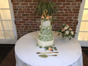 Katie and Kyle's New Orleans inspired wedding cake at the Horton Grand